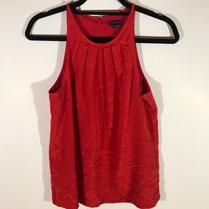 Theory Sleeveless Silk Blend Blouse Red